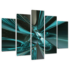 Five Picture Teal Abstract Canvas Art Wall Prints Set Blue Green 5017