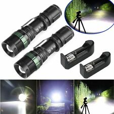 2X Tractical 5000 Lumen Zoom XM-L T6 LED Flashlight 18650 Charger black AW