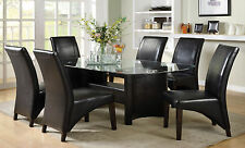 Furniture Of America Madison Black 7Pc Glass Top Dining Table And UPH Chairs Set