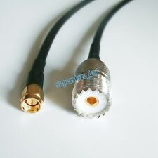 UHF SO239 female PL259 to SMA male plug crimp RG58 cable jumper pigtail 8inch