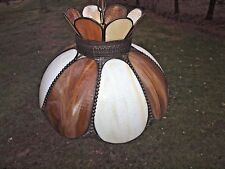 "Vintage Stained Amber & White Slag Glass Shade Hanging Light Swag Lamp 17"" diam"