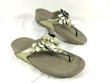 Women's FitFlop Flip Flop Gold leather w/ Flowers FLEUR Sz 9