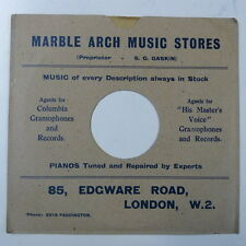 """record sleeve for 78rpm 10"""" gramophone disc : MARBLE ARCH MUSIC , EDGWARE ROAD"""