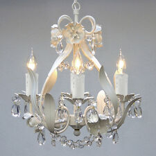 Crystal prisms Girls room Floral ITALY 4 light SOLID White finish Chandelier