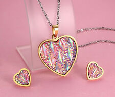 New Gold Stainless steel Ladies Heart Necklace Pendant Earring set Shiny Stone