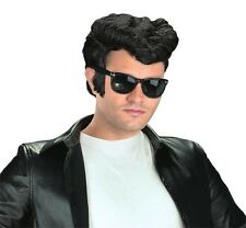 Mens Adult Deluxe 50s 60s 70s Disco Black Wavy Greaser Wig Costume Accessory