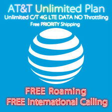 AT&T Unlimited DATA! Talk&Text 4G LTE Plan $100/Month FREE Roaming No Throttling