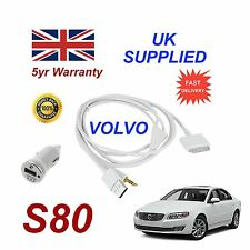 VOLVO S80 For Apple iPhone 3gs 4 4s iPod Audio Cable & 1.0A Power Adapter w