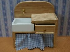 Sink with Drainer & Drawer, Dolls House Miniature, Kitchen, Gingham Curtains