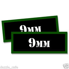 "9MM Ammo Can 2x 9MM Labels Ammunition Case 3""x1.15"" 9MM stickers decals 2 pack"