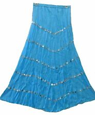 NWT SACRED THREADS V panel turquoise broomstick cotton SKIRT One size fits S/M