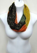 Knit Sequin Multicolor Orange Green Yellow Black Eternity Infinity Circle Scarf