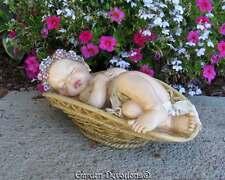 Adorable! SLEEPING BABY IN A BASKET Indoor Outdoor Garden Statue Memorial ~ CUTE