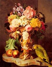 Ferdinand Kuss A Still Life with a Vase of Assorted Flowers Peaches and a Parrot