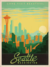 "Seattle Washington - Anderson Design Group Poster - 24"" x 31"""