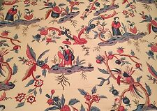 "COWTAN AND TOUT - NEW  Tourlaville- Eastern Asian - Linen 58"" Width- Beige Red"