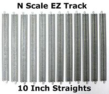"N Scale Model Railroad Trains Layout Bachmann EZ Track 12 Pieces of 10"" Straight"