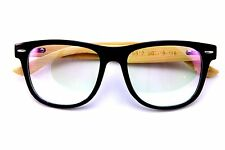 Genuine Real Bamboo wood Rx'able frame clear lens glasses Large Classic Design