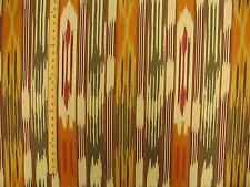 Woven Funky Colorful Contemporary Abstract Flame Ikat Stripe Upholstery Fabric