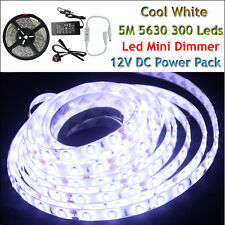 3528 5050 5630 5M White 300 SMD 12V LED Flexible Strip Light Waterproof Adapter