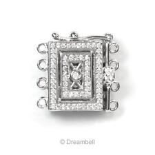 Sterling Silver Filigree Rectangle 4 Strand Pearl Box Micro Pave Crystal Clasp