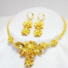 Elegant  Women 24K Yellow Gold Filled Flower Necklace+Earring Set GF Jewelry
