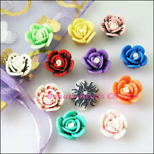 10Pcs Mixed Handmade Polymer Fimo Clay Flower Spacer Beads Charms 15mm