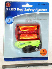NEW BRIGHT RED 5 LED REAR BIKE BICYCLE SAFETY TAIL LITE LIGHT FLASH TAILLIGHT