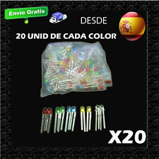 LED LOTE Leds 3 mm color Verde Azul Amarillo Rojo y Blanco X20 CADA , TOTAL 100