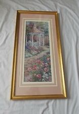 COUNTRY PICTURE VILLAGE GAZEBO IN A FLOWER GARDEN  MATTED FRAMED