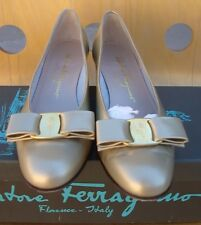 Salvatore Ferragamo Vara 7 3A Gold Metallic Signed Bow Calf Leather Pumps
