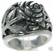 Solid 925 Sterling Silver Rose Flower Wide Band Ring Sz-6 '