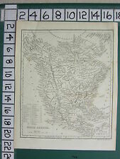 c1840 VICTORIAN MAP ~ NORTH AMERICA ~ UNITED STATES BRITISH TERRITORY MEXICO