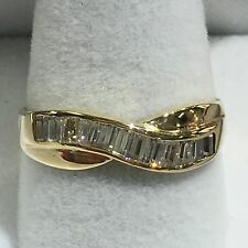 14k Gold Band With Channel Set Baguette Diamonds