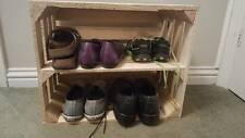 * WOODEN APPLE CRATE WITH LONG INTERNAL SHELF STORAGE DISPLAY SHOE RACK *