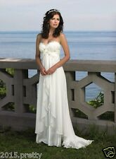 Lace Beach Wedding Dress Empire Pregnant Chiffon Bridal Gown Custom Made 2-26W