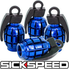 4 ANODIZED GRENADE VALVE STEM CAP KIT/SET FOR RIMS/WHEELS/TIRES P5 BLUE