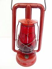 Antique Old Dietz Hi-Lo New York Red Glass Shade Tubular Barn Lantern Lamp Metal