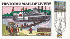 COLLINS HAND PAINTED FIRST DAY COVER FDC 1989 HISTORIC MAIL DELIVERY RIVER BOAT