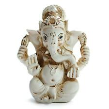 "GANESHA STATUE 3.2"" Hindu Elephant God GOOD QUALITY White Resin NEW Indian Deity"