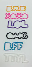 Silly Bandz Set of 6 Acronyms BRB XOXO LOL OMG BFF TTYL NEW without tags