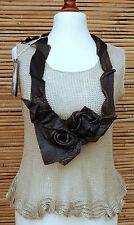 *ZUZA BART*DESIGN REAL LEATHER EXCLUSIVE BEAUTIFUL EMBELLISHMENT NECKLACE*BROWN*