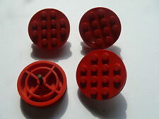 Lego 4 jantes rouges anciennes set 166 610 190 378 140 /4 red wheels