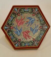 VINTAGE VOLUPTE DOVE ROCOCO PETIT POINT PRINT SIX SIDED POWDER COMPACT.