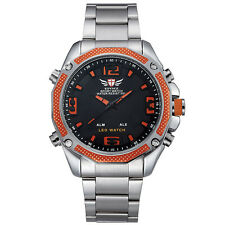 Men's analog digital watch (silver orange)