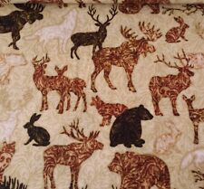 "16"" Woodland Spirit Dan Morris Quilting Treasures Rust Lodge Animals"