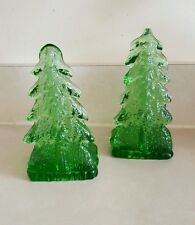 Vintage Green Bergdala Swedish Glass Pine Tree Candle Holders