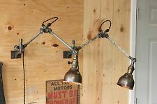 Pair (x2) Vintage Industrial OC White Lamp Light Wall Mount Machine Age 1893
