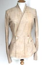 Rick Owens Beige Hollywood Wrap blistered leather Jacket IT 42 uk 10