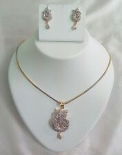 American Diamond pendant necklace earings set with two toned chain